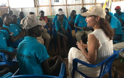 Ashley Judd visiting INTERSOS UNFPA youth friendly space in Juba