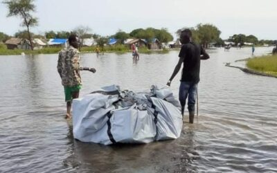 people hit by floods in South Sudan